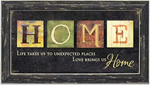 Homekor Love Brings Us Home Sign 20.5x11.5 Country Inspirational Quote Marla Rae Wall Art Rustic Farmhouse Living Room Decor Housewarming Gift Wooden Plaque Saying Family Decoration Framed Picture