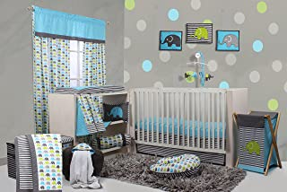 Bacati - Elephants Aqua/lime/grey 10 Pc Crib Set Bumperfree