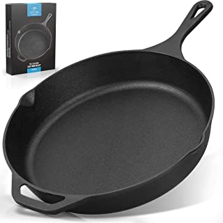 Zulay Kitchen Pre-Seasoned Cast Iron Skillet 12 Inch - Heavy Duty Seasoned Iron Cast Skillet For Indoor & Outdoor Cooking ...