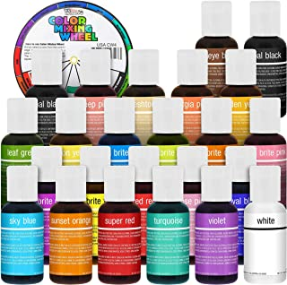 24 Color Cake Food Coloring Liqua-Gel Decorating Baking Primary & Secondary Colors Deluxe Set - U.S. Cake Supply 0.75 fl. ...