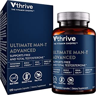 Ultimate ManT Advanced Testosterone Support, Energy Vitality for Men, 120 Vegetable Capsules, by Vthrive