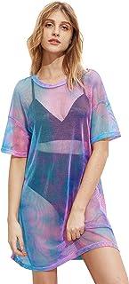 MakeMeChic Women`s Beach Cover Ups Short Sleeve See Through Sheer Mesh Short Dress
