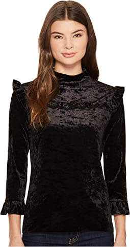 Black Crush Velvet Ruffle Turtleneck in Spark It