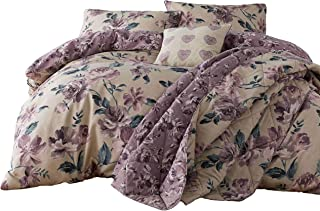 PAINTED-STYLE FLORAL FLOWERS BEIGE REVERSIBLE COTTON BLEND USA QUEEN SIZE (COMFORTER COVER 230 X 220 - UK KING SIZE) (PLAIN MAUVE PURPLE FITTED SHEET - 152 X 200CM + 25 - UK KING SIZE) 4 PIECE BEDDING SET