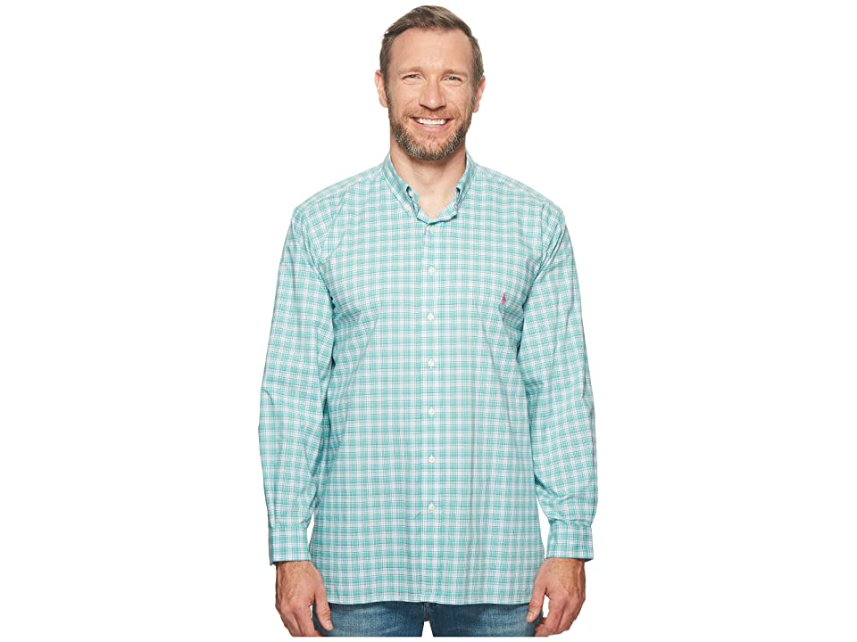 Polo Ralph Lauren Big Tall Poplin Long Sleeve Sport Shirt (Vine Green/Magenta Multi) Men