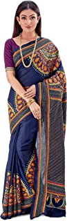 SareesofBengal Women's Pure Silk Handloom Kantha Stitch Saree Navy Blue