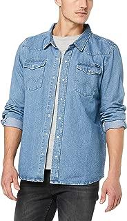 Wrangler Men's Harrison Ls Shirt, Washed Indigo