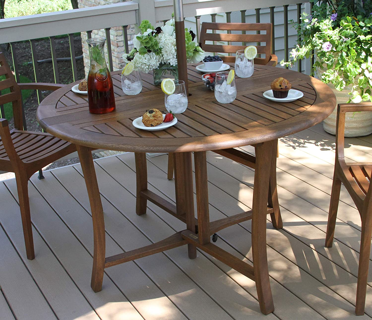 Outdoor Interiors Round Folding Table, 9 Inch, Brown