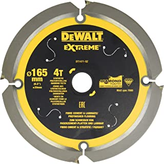 Dewalt Fibercement-cirkelsågblad DT1471 (165/20 mm, 4 tänder, 12°, cirkelsågblad speciellt utvecklade för fibercementplatt...