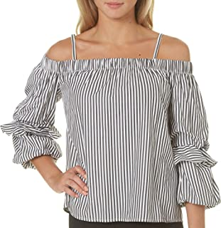 BCX Womens Striped Off-The-Shoulder Pullover Top Black M