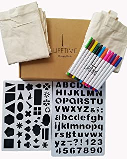 Lifetime Inc Tote Decorating Kit with Canvas Bags, Tote-ally Fun DIY 12 Fabric Markers, and 2 Stencils