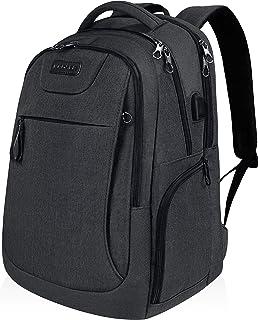 KROSER pcバックパック 17.3インチ ビジネスリュック pcバッグ pcリュック パソコンバッグラップトップバッグ コンピュータバッグ デイパックUSB充電ポート/撥水/防水/大容量/通学/通勤/ビジネス/旅行/メンズ/レディース -カーボンブラック