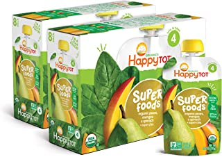Happy Tot Organics Stage 4 Superfoods Pears Mangos and Spinach + Super Chia, 4.22 Ounce Pouch (Pack of 16) (Packaging May ...