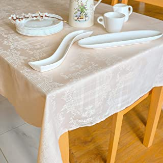 SALE! -Stain Resistant Ivory Thanksgiving Tablecloth 10 ft table Polyester Damask Christmas Table Linen, Rectangular Tablecloth, Square, Washes Easily, Wrinkle Free (Ivory Damask,Rectangular 60