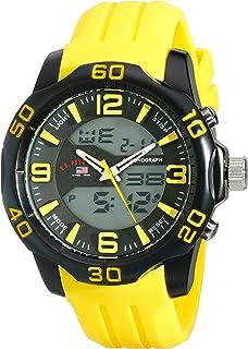 U.S. Polo Assn. Sport Men's US9512 Analog-Digital Display Analog Quartz Yellow Watch