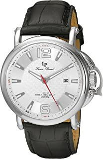 Lucien Piccard Men's 'Triomf' Quartz Stainless Steel and Black Leather Casual Watch (Model: LP-40018-02S)