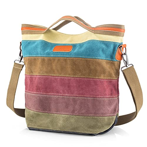 292a0fcd1d23 Canvas Handbag SNUG STAR Multi-Color Striped Lattice Cross Body Shoulder Purse  Bag Tote-