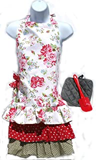 Color-N-Splash Adorable Apron Three Piece Gift Sets Including Charming Apron, Quality Hot Pad, Fun Spatula (Floral Apron Set)
