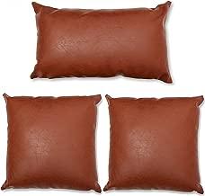 Brown Faux Leather Faux Pillow Covers Full Set - Set of 3 Faux Leather Throw Pillows - Accent Pillow Cover Decor - Sofa, Den, Bedroom, Sunroom, Living Room, Decor for Modern, Bohemian, Farmhouse