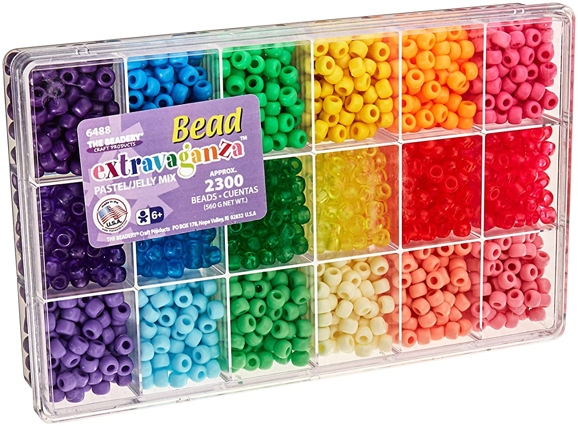 Beadery Bead Extravaganza Bead Box Kit, 19.75-Ounce, Pastel and Jelly