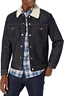 Men's Selvedge Denim Jacket with Faux Shearling Collar