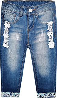 KIDSCOOL SPACE Girls Rabbit Embroidered Elastic Waist Band Inside Cute Slim Jeans