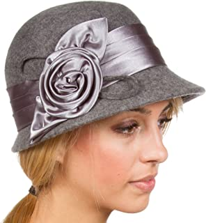 Marilyn Vintage Style Wool Cloche Bucket Winter Hat with Satin Flower