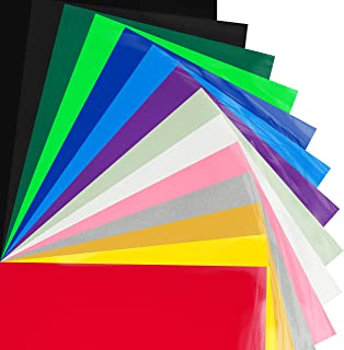 Bright Idea Supplies Heat Transfer Vinyl Bundle - 14 Sheet Pack of HTV Vinyl - Iron On Vinyl Assorted Colors and Glow in the Dark HTV Bundle - Iron on Vinyl for Cricut, Silhouette Cameo and Heat Press