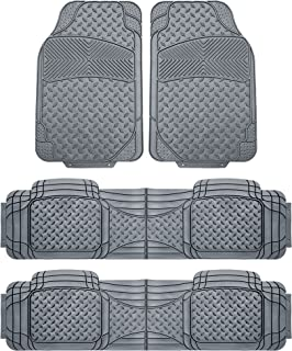 FH Group FH-F11307 3-Row All Weather Trimmable Gray Vinyl Floor Mat, 4 pcs