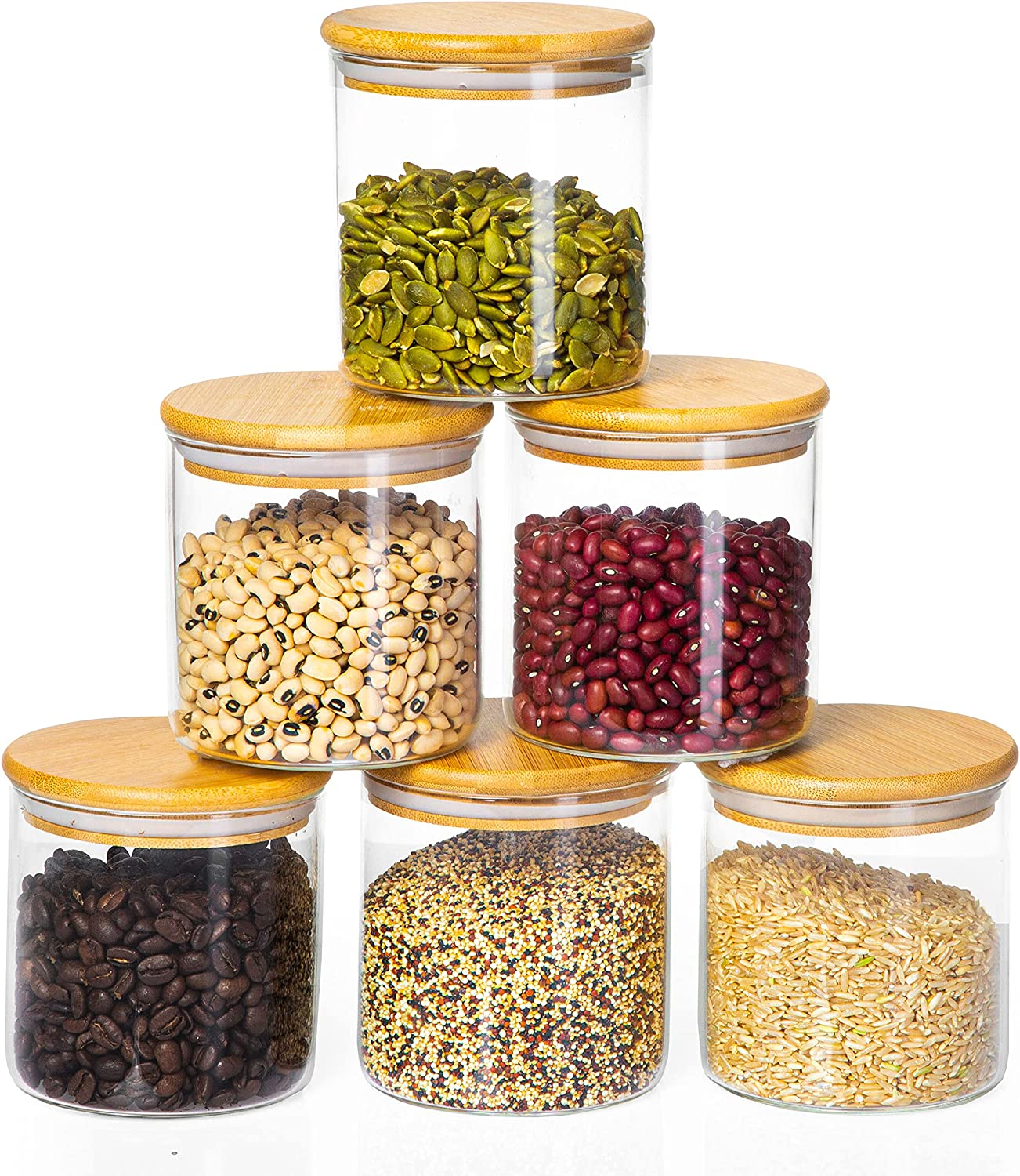 Glass Food Storage Containers with Bamboo Lids, 6 Pack - 23 Fluid oz Airtight Clear Kitchen Organization Canisters