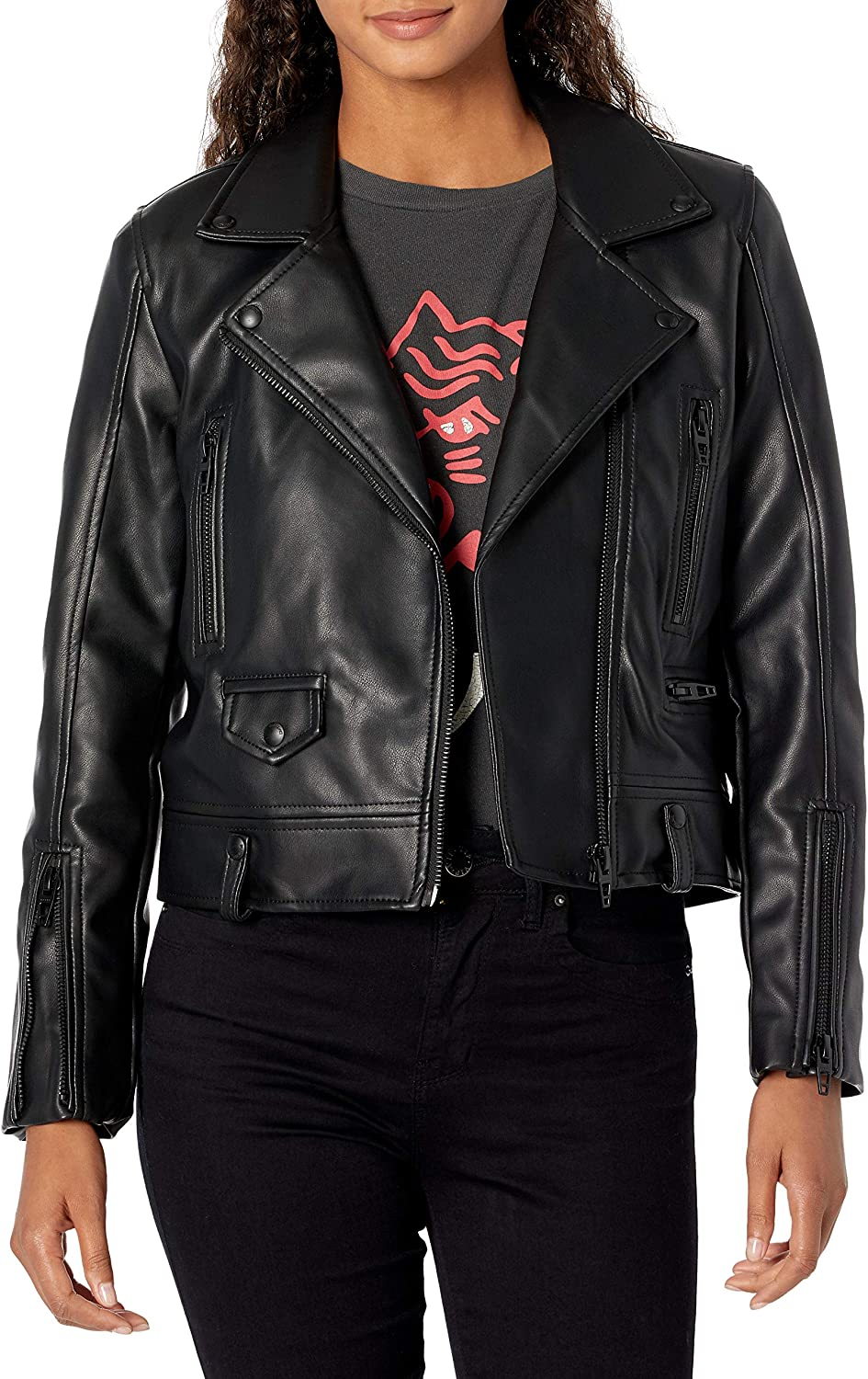 [BLANKNYC] womens Basic Vegan Leather Moto Jacket With Front Zipper Closure