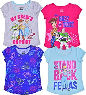 Disney Girl's 4 Pack Short Sleeves Tee Shirt Set, Toy Story Fashion Bundle for Kids, Size 6 Pink