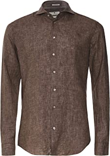 Thomas Maine Men's Tailored Fit Linen Bari Shirt Brown