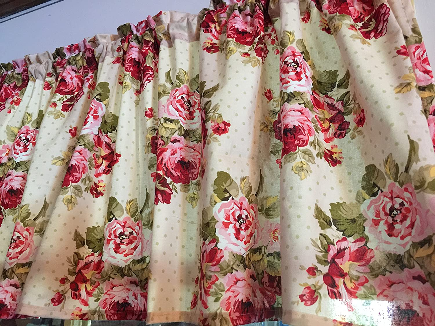 Roses and Dots Cranberry Pink Gifts Colorado Springs Mall Curtain Window Hand Valance Cotton
