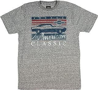 GM Chevrolet T-Shirt American Classic Camaro Distressed Logo Men's Grey