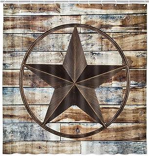 Rustic Shower Curtain, Western Texas Star on Rustic Wooden Board for Modern Farmhouse Polyester Fabric Barn Wood Shower Cu...