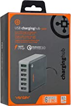 Ventev USB Charging Hub rq600, Qualcomm Quick Charge 3.0 | Charges Six Devices Simultaneously, Total 10a Output, Backwards Compatible with Quickcharge 2.0, Lay Flat or Stand-Up Design to Maximum Space