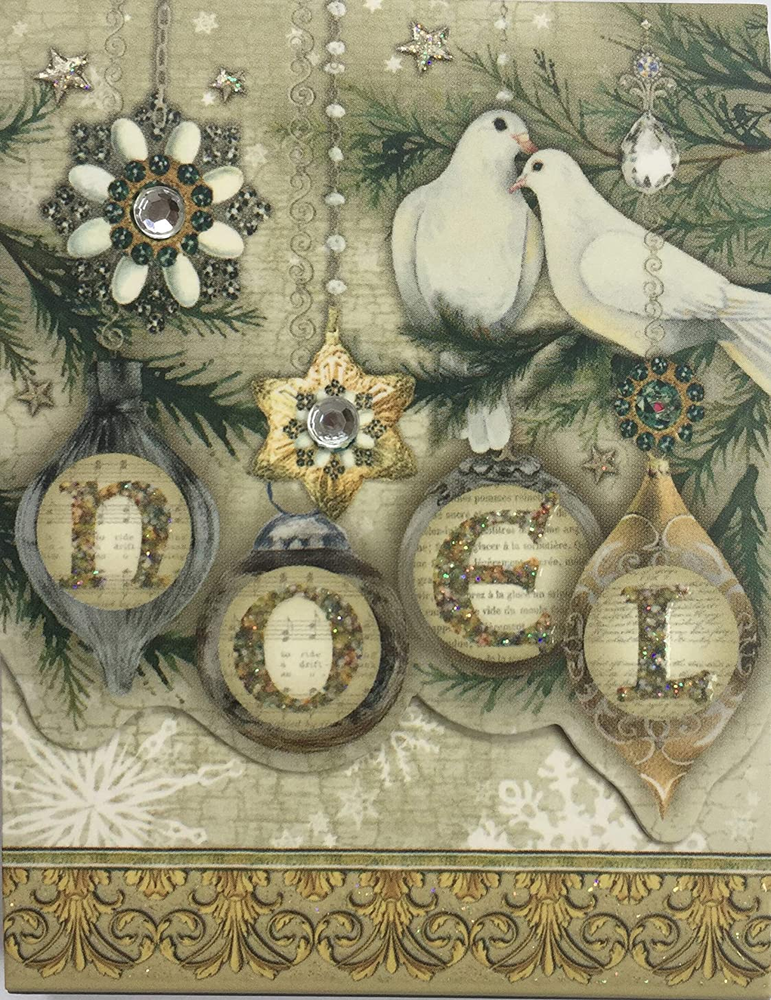 Punch Studio 75-Sheet Faux Gem and Glitter Mini Pocket Notepad - Noel with Doves and Ornaments