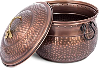 BIRDROCK HOME Water Hose Holder with Lid - Ground Garden Hose Pot - Decorative - Handle - Embossed - Steel Metal with Copper Accents - Outdoor or Indoor Use