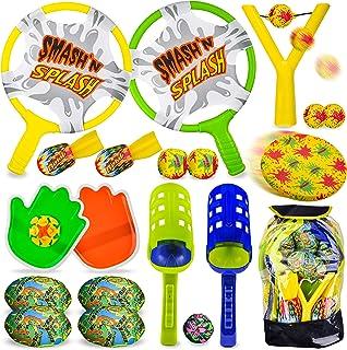 JOYIN 7 in 1 Outdoor Sports Toy Backpack Set, Including Scoop Balls, Football Toss, Toss Bags, Slingshot, Flying Disc, Wat...