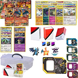 Pokemon Cards Charizard Lot with Charizard EX GUARANTEED - Also includes 3 Foil Rares, 5 Foil Cards, 20 Regular Pokemon Cards, Figure, Totem Deck Box, Mini Binder and 100 Sleeves