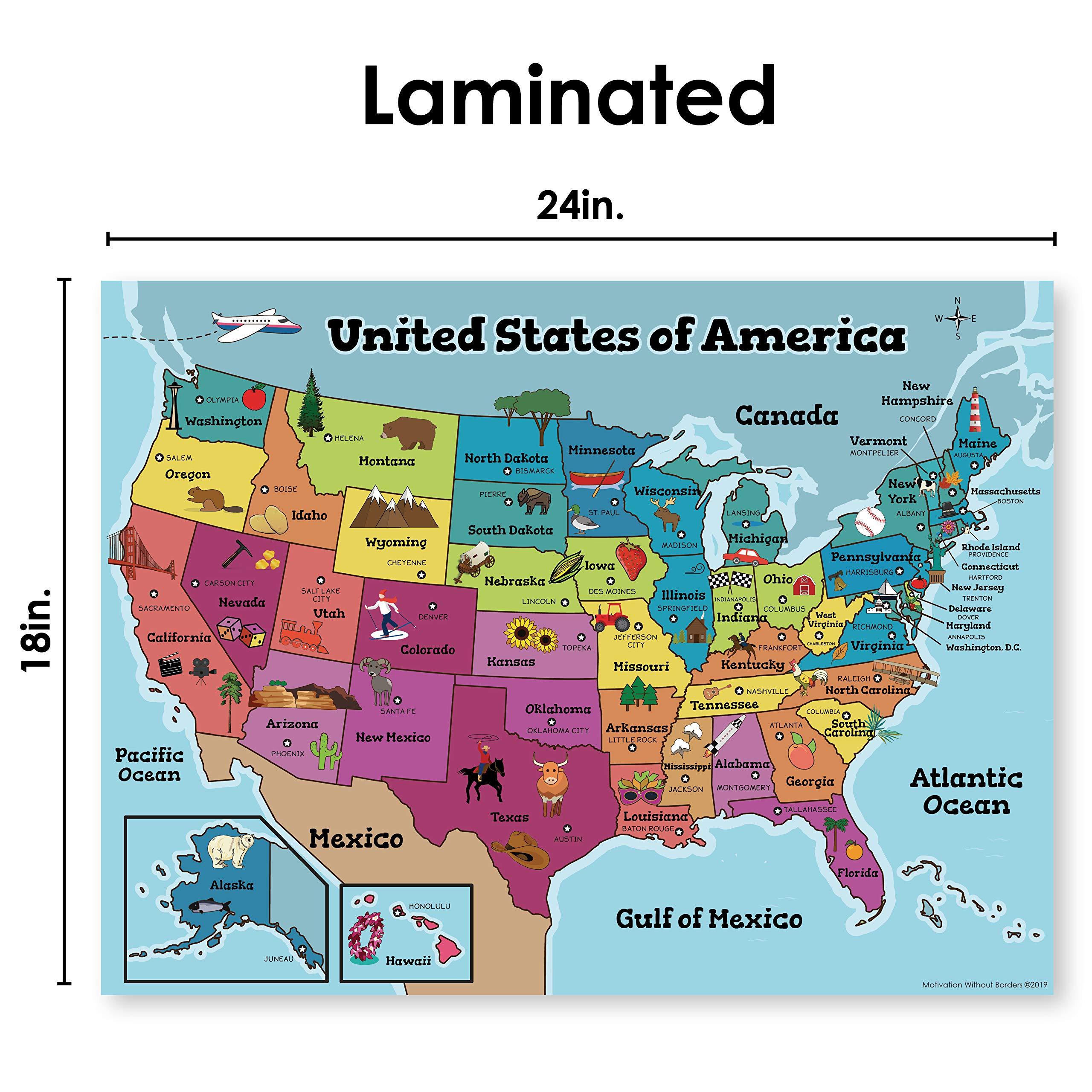Mapa de Estados Unidos para niños (18 x 24 laminado mapa de Estados Unidos) mapa ideal de Estados Unidos para aulas, carteles o hogar: Amazon.es: Oficina y papelería
