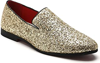 Men's Slip On Loafer Shoes Metallic Sequins Nightclub Shoes Textured Glitter Loafers Luxury Wedding Shoes