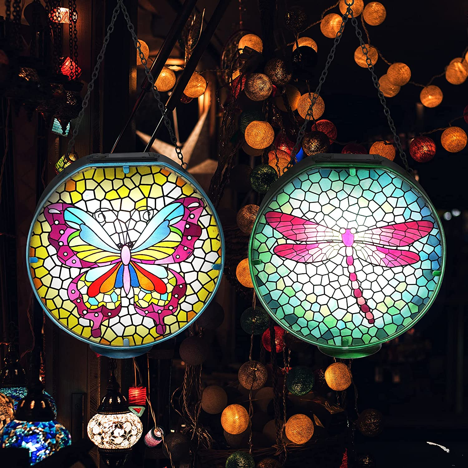 Directly managed store HONGLAND Super popular specialty store 2 Pack Solar Lantern Mosaic Lights D Metal Glass Garden