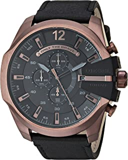 Men's Mega Chief Quartz Stainless Steel and Leather Chronograph Watch, Color: Rose Gold-Tone, Black (Model: DZ4459)