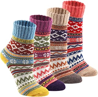 Wool Cozy Crazy Novelty Socks - KEAZA WZ02 Thick Cotton Warm Knitting Vintage BOHO Women Girl Sock for Winter Fall with Package 4-pack