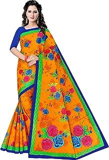 Women's pure cotton saree without blouse piece (2195, Gold No Bp)