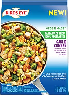 Birds Eye Veggie Made Garlic Chicken Skillet Meal, Pasta Made from 100% Vegetables, 21 Ounce (Frozen)