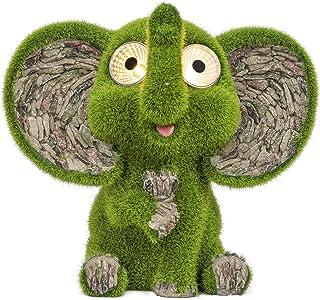 TERESA'S COLLECTIONS Flocked Garden Elephant Statue, Solar Powered Garden Lights, Funny Garden Figurines for Outdoor Patio...