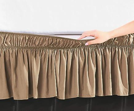 Ben&Jonah EasyWrap Mocha Elastic Ruffled Bed Skirt with 16 Drop - Twin/Full